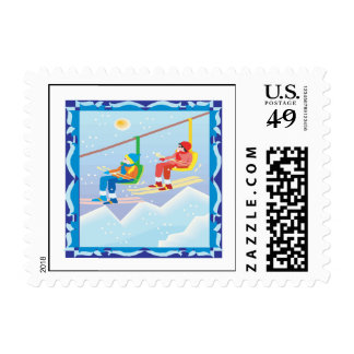 Ski Lift Postage Stamp