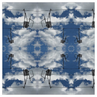Ski Lifts and Cloudy Sky Photo Fabric