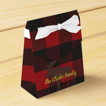 Beach Themed Ski Lodge Moose Plaid Holiday Party Favor Boxes