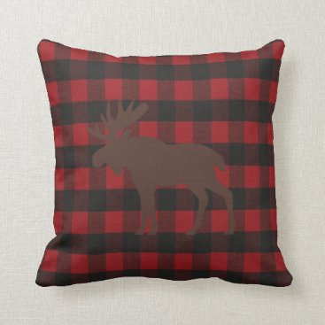 Bride Themed Ski Lodge Moose Plaid Holiday Party Throw Pillow