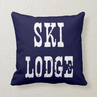 Ski Lodge Navy Throw Pillows