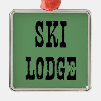 Ski Lodge Sage Metal Ornament