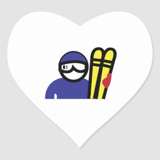 Ski Man Heart Sticker