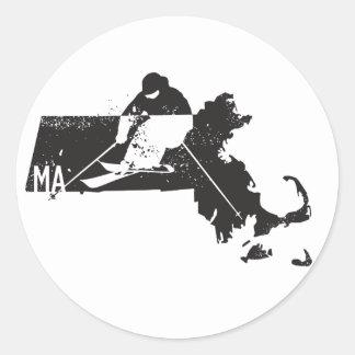 Ski Massachusetts Classic Round Sticker