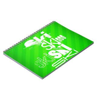 Ski; Neon Green Stripes Spiral Note Book