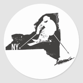 Ski New York Classic Round Sticker