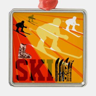 Ski Ornament Orange Red