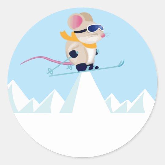 Ski Patrol Mouse in the Alps Classic Round Sticker