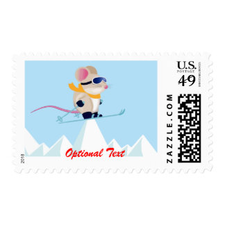 Ski Patrol Mouse in the Alps - Customizable Stamp