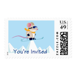 Ski Patrol Mouse in the Alps You're Invited Stamp