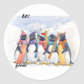 Ski Penguins Gift Tags Round Sticker