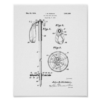 Ski Pole Grip And Ring Patent Poster