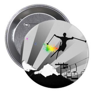 ski powder trail pinback button