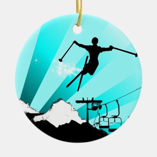 ski powder trail christmas tree ornament