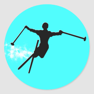 ski powder trail classic round sticker