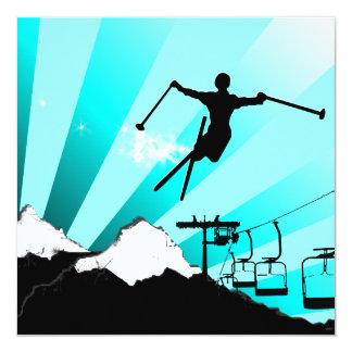 ski : powder trail 5.25x5.25 square paper invitation card