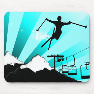 ski powder trail mouse pad