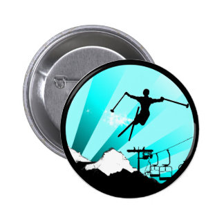 ski powder trail pinback button