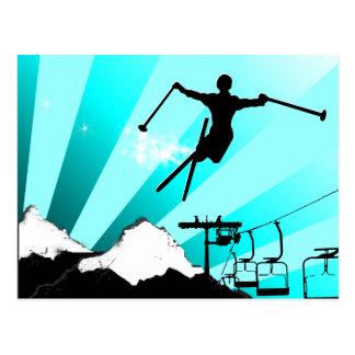 ski powder trail postcard
