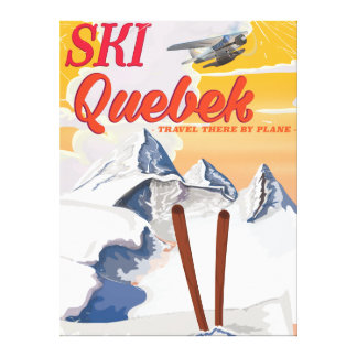 Ski Quebec vintage vacation poster. Canvas Print