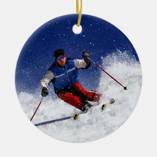 Ski Racing Down the Mountain Ceramic Ornament