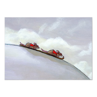 Ski racing rats fun uique art skiing rat painting card