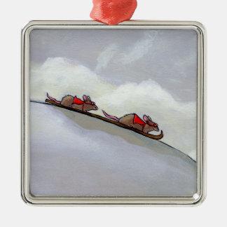 Ski racing rats fun uique art skiing rat painting christmas tree ornament