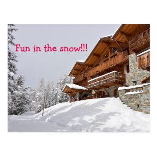 Ski resort chalet postcard