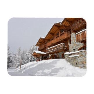 Ski resort chalet rectangular photo magnet