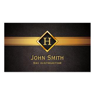 Ski Royal Gold Monogram Elegant Leather Business Card