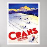 Ski-run in Crans hill, Switzerland, vintage travel Poster