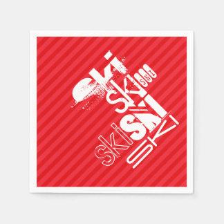 Ski; Scarlet Red Stripes Paper Napkin