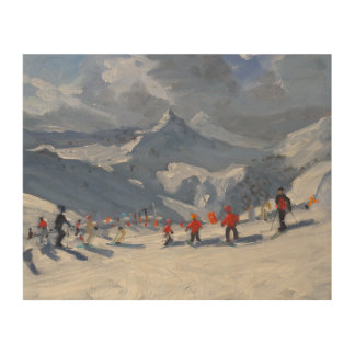 Ski School Tignes 2009 Wood Print