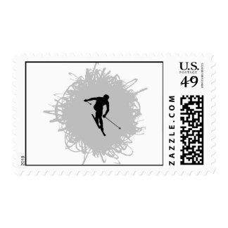 Ski Scribble Style Postage