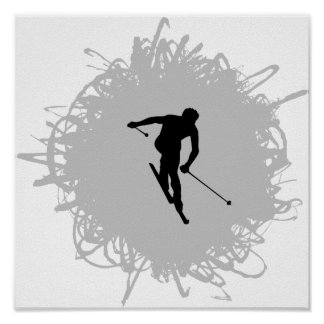 Ski Scribble Style Posters