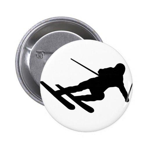 ski skiing downhill skier 2 inch round button