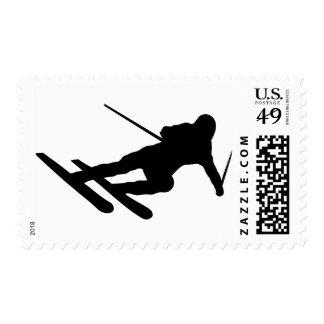 ski skiing downhill skier postage