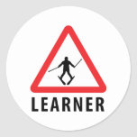 ski skiing learner classic round sticker