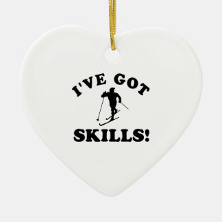 ski skills Vector Designs Ceramic Ornament