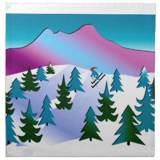 Ski Slope Art on Cloth Napkins (set of 4)
