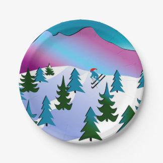 Ski Slope Art on Paper Plates