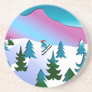 Ski Slope Art on Sandstone Coasters
