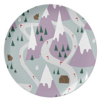 Ski slopes melamine plate