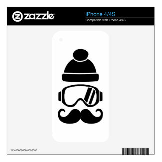 Ski snowboard hat mustache skins for the iPhone 4