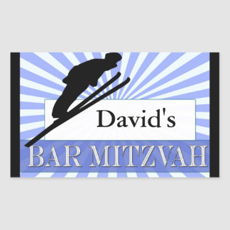 Ski theme Bar Mitzvah Rectangular Sticker