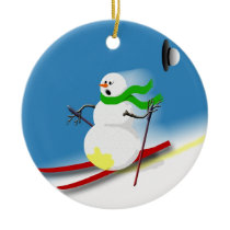 Ski Theme Gift Ideas Holiday Funny Christmas Ceramic Ornament
