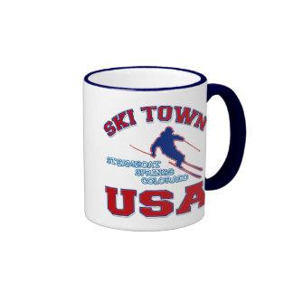 Ski Town USA, Steamboat Springs, Colorado Ringer Coffee Mug