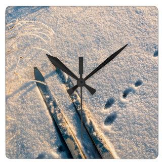 Ski track square wallclock
