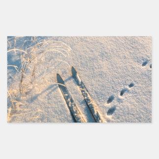 Ski track rectangular sticker