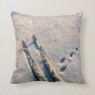 Ski track throw pillow
